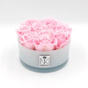 Infinity Rosen in Glasschale - Bridal Pink