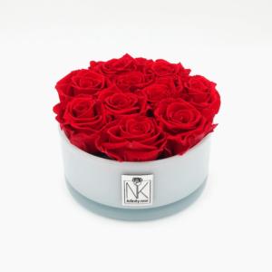 Infinity Rosen in Glasschale - Vibrant Red